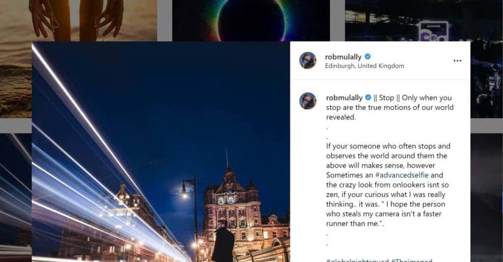 Screenshot of Instagram Captions